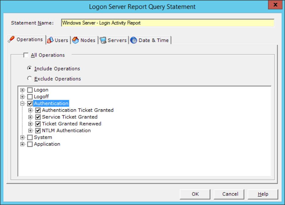 Logon server report authentication