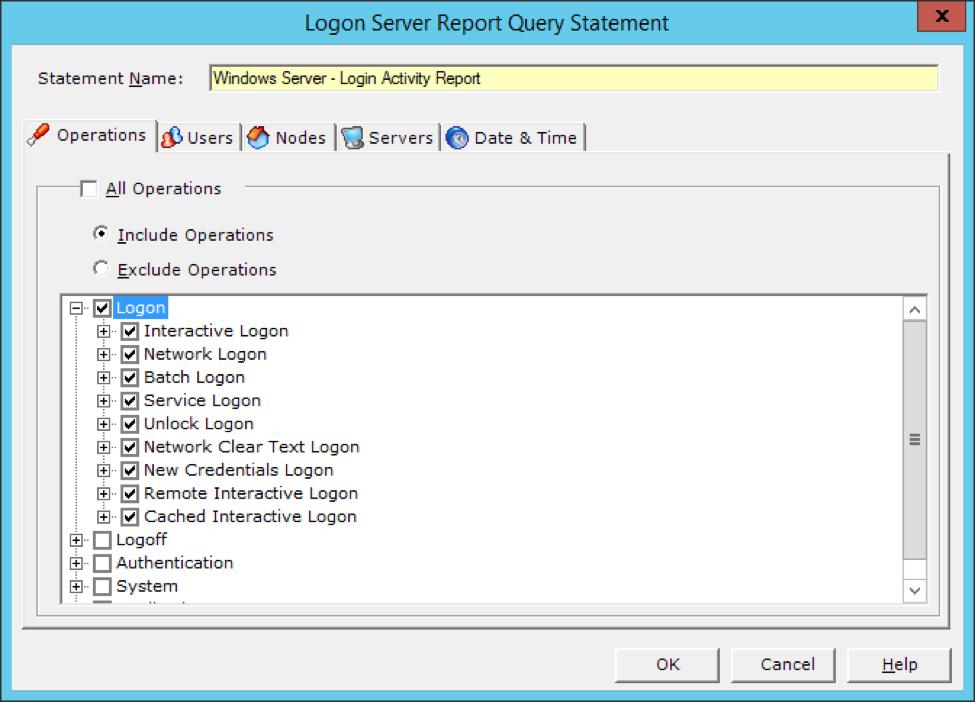 Logon Server Report Query Statement