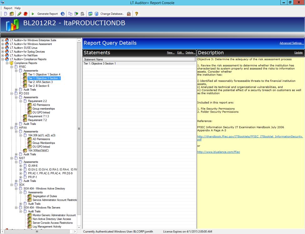 Report query details