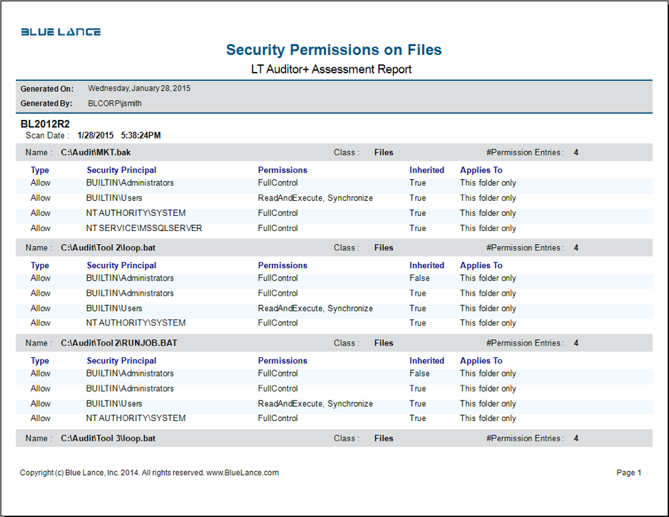 Security permissions on files