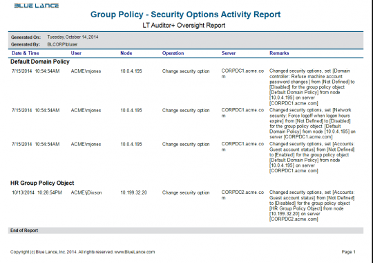 Group Policy -Security Options Activity