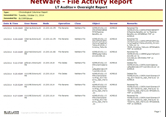 NetWare - File Activity Report