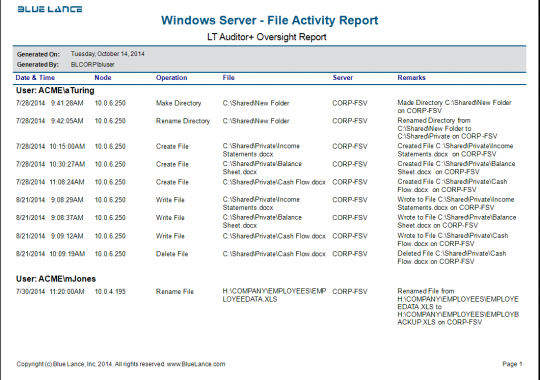 Windows Server - File Activity Report