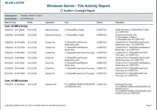 Windows Server - File Activity Report