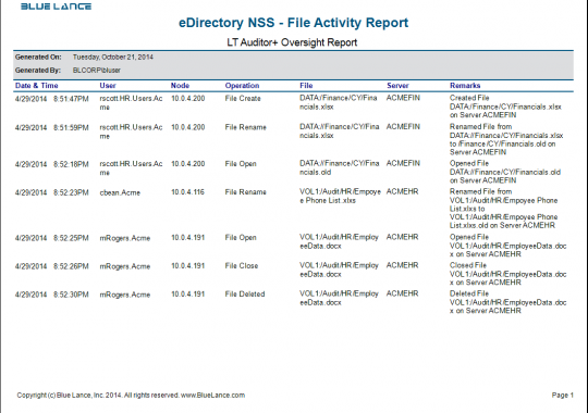 eDirectory NSS - File Activity Report
